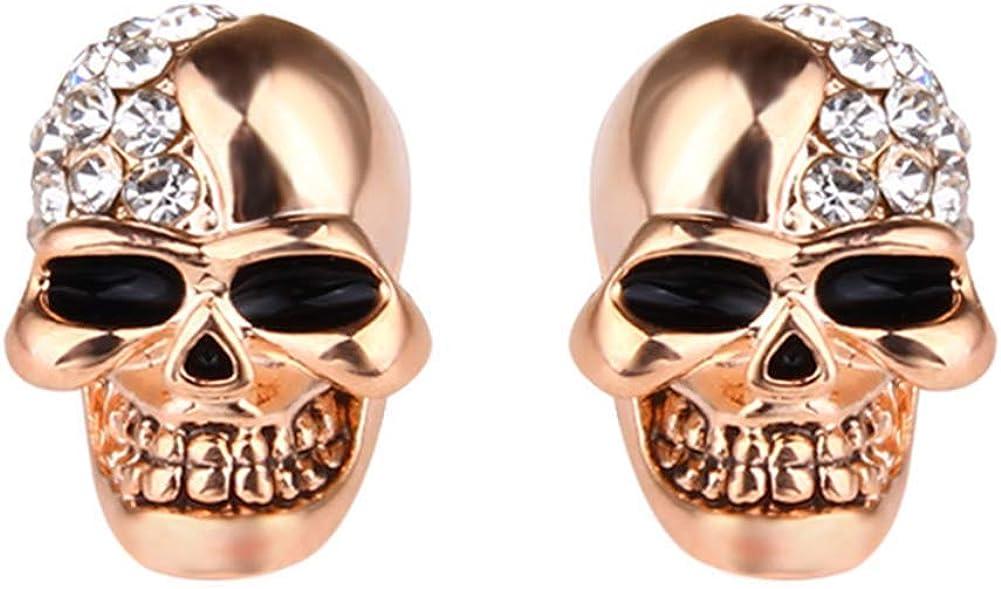 2hao1 Acero Inoxidable Calavera Gótico Tuerca Pendientes Cristal Ojo Esqueleto Cabeza Hueso Tuerca Pendientes Para Hombre Mujer