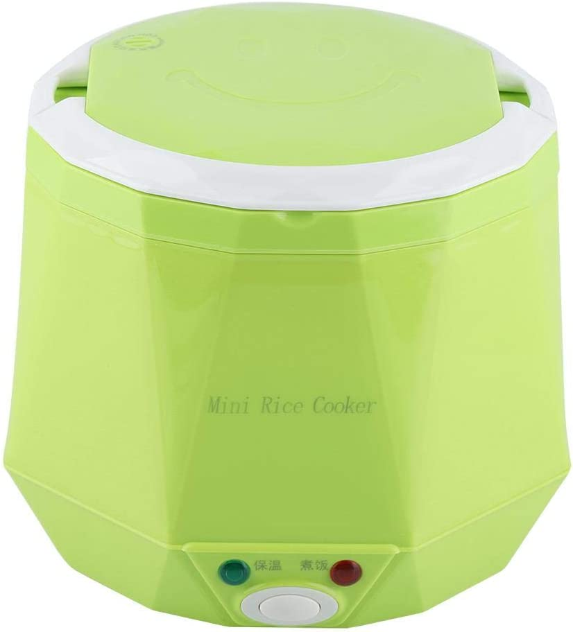 Electric Rice Cooker, 1.6 L Portable Electric Rice Cooker Multifunctional Food Steamer Mini Electric Pot for Truck, 24V 140W(Green)