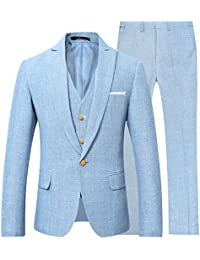 "<span class=""a-offscreen"">[Sponsored]</span>Mens 3 Piece Linen Suit Set Blazer Jacket Tux Vest Suit Pants"
