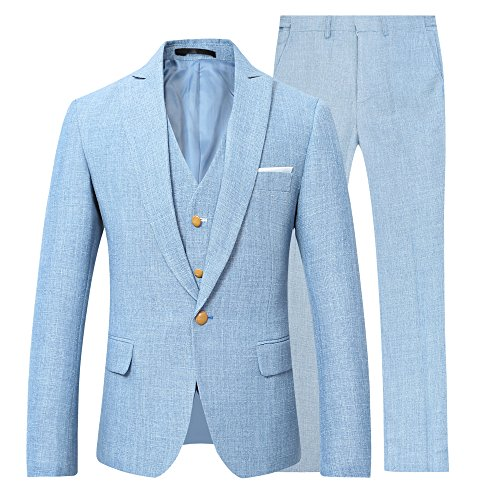 Mens 3 Piece Linen Suit Set Blazer Jacket Tux Vest Suit Pants (2XL, Suit Set-Light Blue)