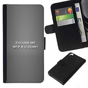 NEECELL GIFT forCITY // Billetera de cuero Caso Cubierta de protección Carcasa / Leather Wallet Case for HTC Desire 820 // Wtf R U Doin divertido