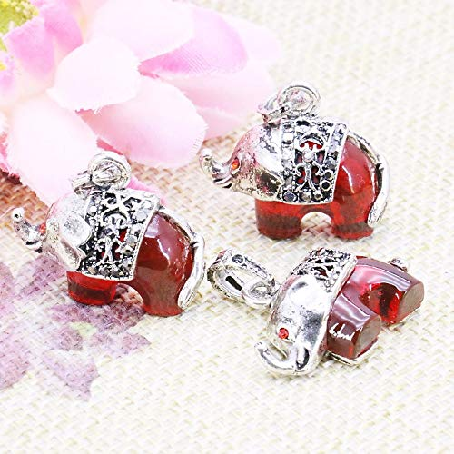 Red Crystal Beads | Lucky Pendant for Bracelet/Necklace Jewelry Making | Gem/Elephant/Animal 24x12mm 5pcs