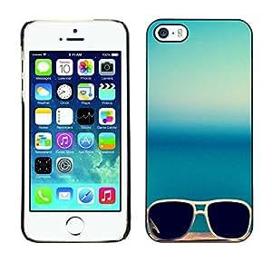 FECELL CITY // Duro Aluminio Pegatina PC Caso decorativo Funda Carcasa de Protección para Apple Iphone 5 / 5S // Sunglasses Glasses Teal Blue Summer Sun