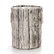 VuHom 19.7  Large laundry Hamper (Available 19.7  and 15.7 ), Drawstring Waterproof Round Cotton Linen Collapsible Storage Basket With Cotton Rope Handles (Wood Grain)