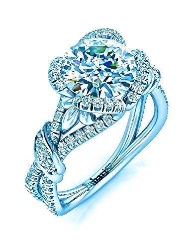 Unique Round Custom Halo Diamond Engagement Ring Foliage 1.84 Tcw Split Shank Tension Setting Jubariss Handmade Designer Fine Jelwery - Round Ring Brilliant Diamond Tension