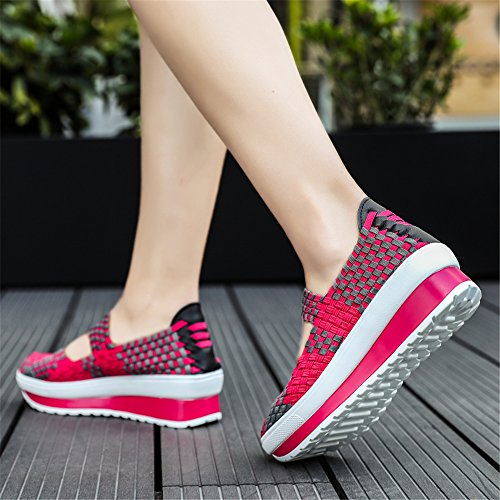 FZDX Women Woven Shoes Slip On Fashion Sneakers Lightweight Walking Shoes Handmade Comfort Rose 8833 xYLRJAKgE