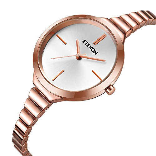 Women's Quartz Rose Gold Bracelet Wrist Watch with Silver Dial, Simple Dress Wristwatch for Women ladies -