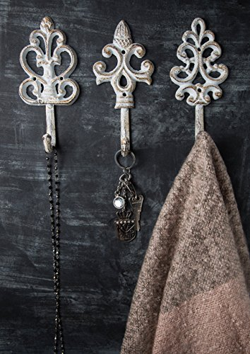 Antique Chic Cast Iron Decorative Wall Hooks - Rustic - Shabby French Country Charm - Large Decorative Hanging Hooks - Set of 3 - Screws and Anchors for Mounting Included