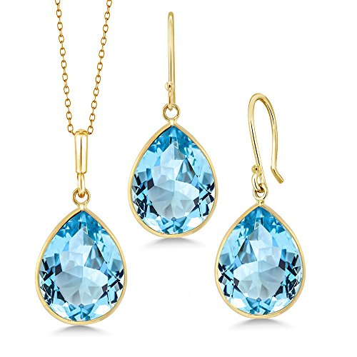 - Gem Stone King 14K Yellow Gold Blue Topaz Pear Shape Pendant & Earring Set, 27.00 Ctw Gemstone Birthstone