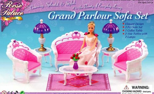 Barbie Size Dollhouse Furniture- Living Room Grand Parlour Sofa Set by gloria