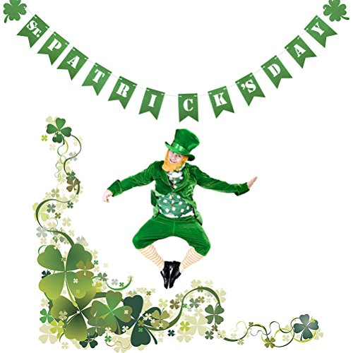 OULII ST. PATRICK'S DAY Irish Shamrock Banners Clover Bunting Garland Flags For St. Patrick's Day Decorations St Paddy's Decor