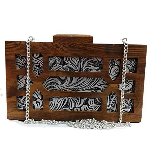 wooden body Indian party womens cross purse Handmade wooden clutch bag vintage SSw5qxC