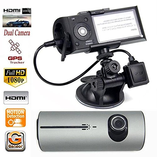 Dual Lens Dash Cam - 2.7-Inch Full HD 1080P Car DVR 140° Degree CCTV Dash Cam G-sensor Car Vehicle On-Dash Video Camcorder Support GPS Module Silver (Kit 140 Degree Mounting)