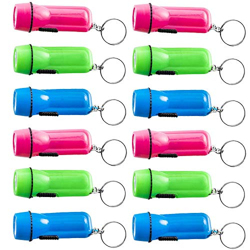 Kicko Mini Flashlight Keychain - 12 Pack Assorted Colors, Green, Light Blue and Pink, Batteries Included - for Kids, Party Favor, Goody Bag Filler, Prize, Pocket Size, Chain for Key