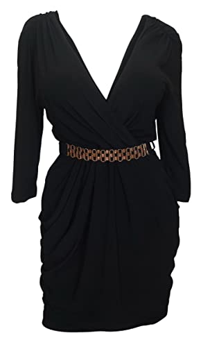 eVogues Plus size Deep V-Neck Wrap Bodice Dress