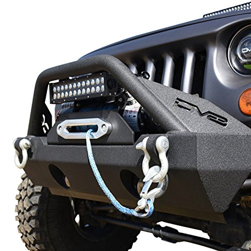 DV8 Jeep Wrangler Front Bumper Hammer Forged 4x4 Offroad Bumper w/ Accessories Fits 07-17 JK Model Includes Winch Plate, Fog Lights, and D-Rings Low Profile for Better Ventilation ()