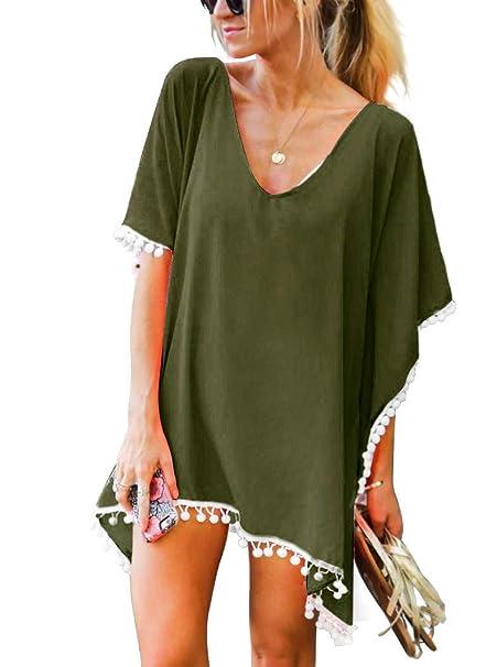 c5329ed9dd OMSJ Swimwear Cover Up, Women Chiffon Sexy Beach Tunic Dresses (Army Green,  One