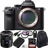 Sony Alpha a7R II Mirrorless Digital Camera w/ Sonnar T* FE 55mm f/1.8 ZA Lens 11PC Accessory Bundle - International Version