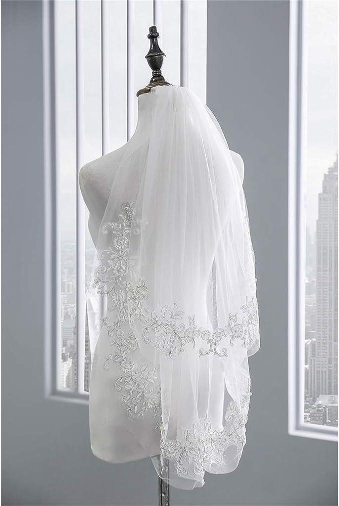 blanc Brinote Voile de mari/ée /à 2 niveaux avec peigne long cath/édrale Voile de mari/ée doux en tulle pour mari/ée