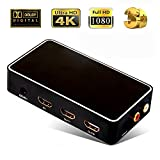 CLCCON HDMI 1.4 1x2 Splitter with FL/FR Audio Extractor Voice Frequency Shunting Port 1 In 2 Out Repeator Transverter Support SPDIF 4k x 2k 1080p 3D for Office Projector HDTV Somatic Game Dolby Black