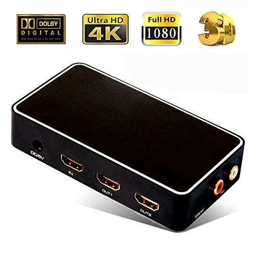 CLCCON HDMI 1.4 1x2 Splitter with FL/FR Audio Extractor Voice Frequency Shunting Port 1 In 2 Out Repeator Transverter Support SPDIF 4k x 2k 1080p 3D for Office Projector HDTV Somatic Game Dolby Black by CLCCON