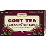 Only Natural Gout Tea - Black Cherry Fruit Extract - 20 Bags -Assist in maintaining healthy uric acid levels and over all well being