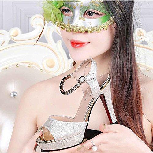 Helen Tacchi alti bocca di pesce estate con sottile cintura fibbia casual scarpe sandali moda femminile (oro) ( dimensioni : 39 yards )