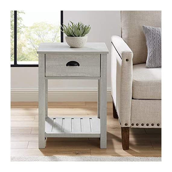 Walker Edison Furniture Company Farmhouse Square Side Accent Set Living Room End Table with Storage Door Nightstand Bedroom, 18 Inch, Stone Grey - 1 drawer farmhouse style nightstand Painted metal half circle handle Open and closed storage - nightstands, bedroom-furniture, bedroom - 51y6p1QoCZL. SS570  -