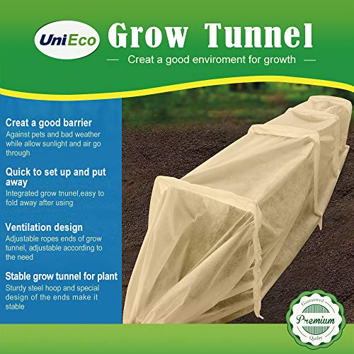 UniEco Grow Tunnel - Fabric Plant Cover - Garden Tunnel with Square Iron Hoops and 2 Stakes, Mini Greenhouse for Plant Protection and Freeze Protection, Beige, 47