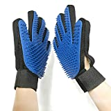 CAITNAND Pet Grooming Glove – Adjustable Deshedding Brush Mitt for Dogs & Cats with Long & Short Fur (Blue) (1 Pair)
