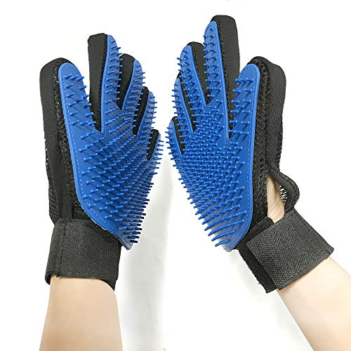 CAITNAND Pet Grooming Glove – Adjustable Deshedding Brush Mitt for Dogs & Cats with Long & Short Fur (Blue) (1 Pair) by CAITNAND