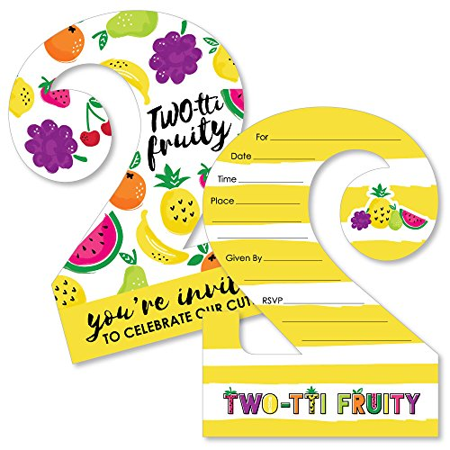 (Two-tti Fruity - 2nd Birthday - Shaped Fill-in Invitations - Frutti Summer Second Birthday Party Invitation Cards with Envelopes - Set of 12 )