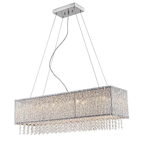 Spiral Collection 8 Light Rectangular Pendant Crystal in Chrome Finish Chandelier ()