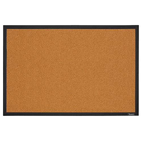 Quartet Corkboard, Framed Bulletin Board, 2' x 3' Cork Board, Black Frame (MWDB2436-BK) -