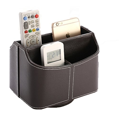 PU Leather Remote Organizer,5-Compartment Holder 360-Degree Rotation Desk Organizer Caddy For Phone / Card / Pen / Pencil (Brown)
