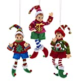 Kurt Adler Elf IN Sweater Ornament Set OF 3