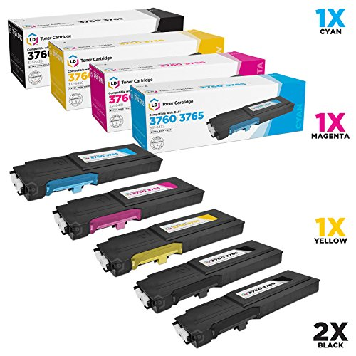 LD © Compatible Alternative for Dell C3760DN / C3760N / C3765NF Set of 5 Toner Cartridges: 2 Black 331-8429, 1 Cyan 331-8432, 1 Magenta 331-8431 and 1 Yellow 331-8430