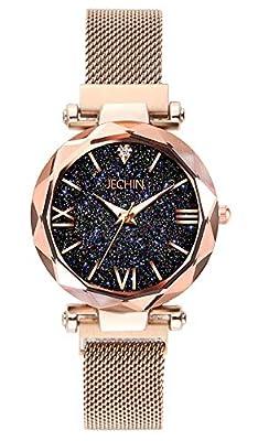 Jechin Fashion Women's Magnetic Buckle Bright Starry Sky Wristwtach Mesh Belt Rose Gold Quartz Bracelet Watch