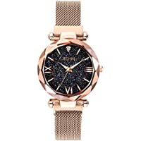 Jechin Fashion Women's Magnetic Buckle Bright Starry Sky Wristwatch Mesh Belt Rose Gold Quartz Bracelet Watch