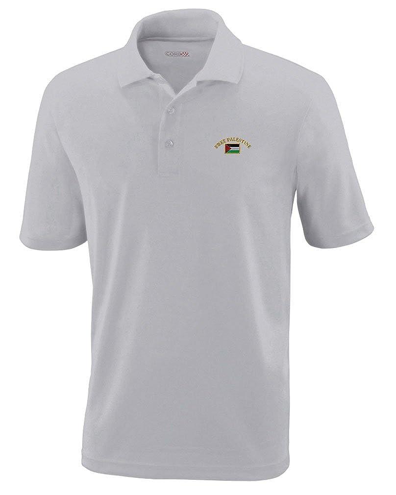 c927bda60 Amazon.com: Free Palestine Flag Embroidery Design Adult Button-End Spread  Short Sleeve Unisex Polyester Performance Polo Shirt Golf Shirt - Platinum,  ...