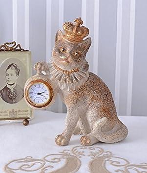 Tischuhr Katzenprinzessin Uhr Katze mit Krone Kaminuhr Kätzchen Katzenfigur