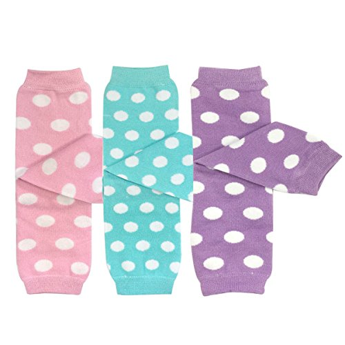 (Bowbear Baby 3-Pair Leg Warmers, Pastel Dots in Pink, Aqua, Lavender)
