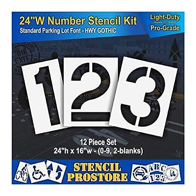 """Pavement Stencils - 24 inch Wide Number KIT Stencil Set - (12 Piece) - 24"""" x 16"""""""