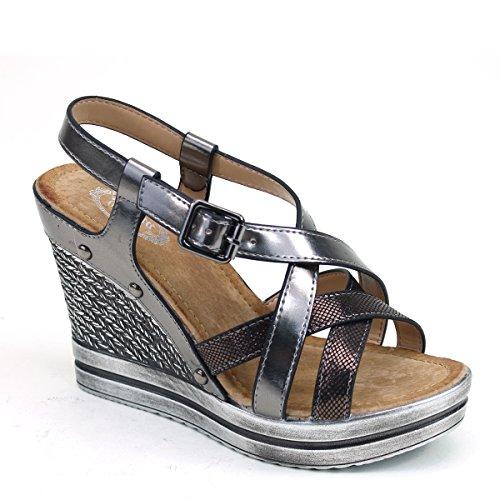 Nieuwe Brieten Dames Cross Strap Gesp Platform Wedge Comfort Sandalen Zwart