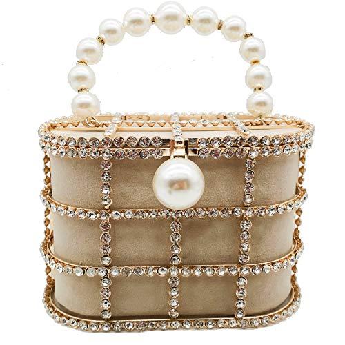 Synthetic Pearl Top-Handle Women Metal Bucket Bag Crystal Evening Purses and Clutches Formal Wedding Handbags