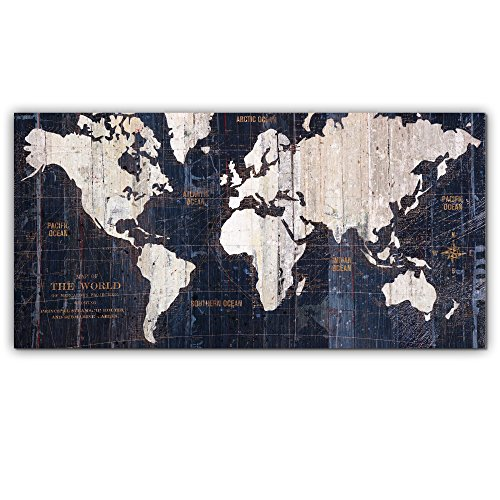 Master Pieces Old World Map, Graphic Art on Gallery Wrapped Canvas, Blue