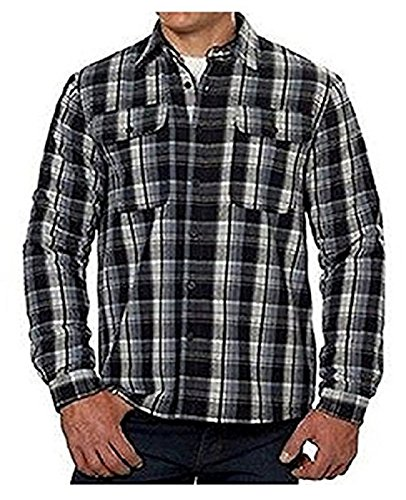 Boston Traders Mens Sherpa Lined Flannel Shirt (M, Black)