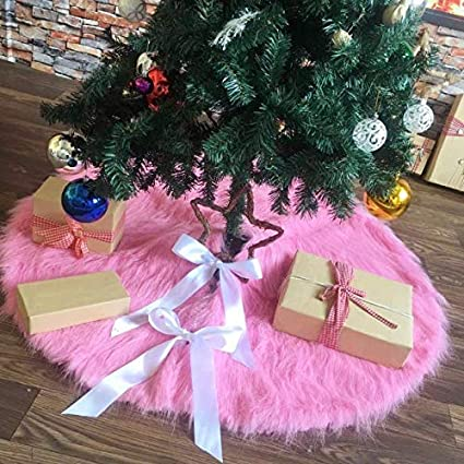 Doyolla Faux Fur Christmas Tree Skirt 48 Inch Pink Xmas Tree Skirt Holiday Decorations Pet Favors
