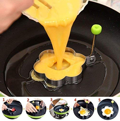 Fried Egg Mold Ring Set of 10 - CHANMOL Stainless Steel Non-Stick Egg Shaper Ring with Silicone Pastry Brush and Egg Separator, Kitchen Cooking Tools for Kids and Lovers 4 BRILLIANT DESIGN -- Star/Heart/Sun/Plum Flower/Mouse/Horse/Elephant/Bear 8 different lovely molds making pancake or egg with funny shapes easily. You can use them to make any delicious food you can think about, such as dessert, pastry, chapatty, jelly. Just have them and get your imagination started! PREMIUM QUALITY-- Our egg molds are made of stainless steel 18/8 with passed FDA certification ,and fully surgical-graded stainless-steel interior and outside , which gives it a brilliant, durable, rust-resistant finish that is easy to maintain, and will last a lifetime. CONVENIENCE-- Single weight about 32g, compact, durable & easy to use. Foldable handles with heat resistance silicone prevents burns to the hands, convenient to move and store. One silicone pastry brush and one egg yolk white separator are also included as bonus for you.