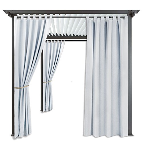 RYB HOME Large Outdoor Curtains - Outdoor Décor Heavy Duty Top Tab Water Repellent Sun Light Block Side Wall Panel for Cabana/Graden, 1 Panel, Width 52
